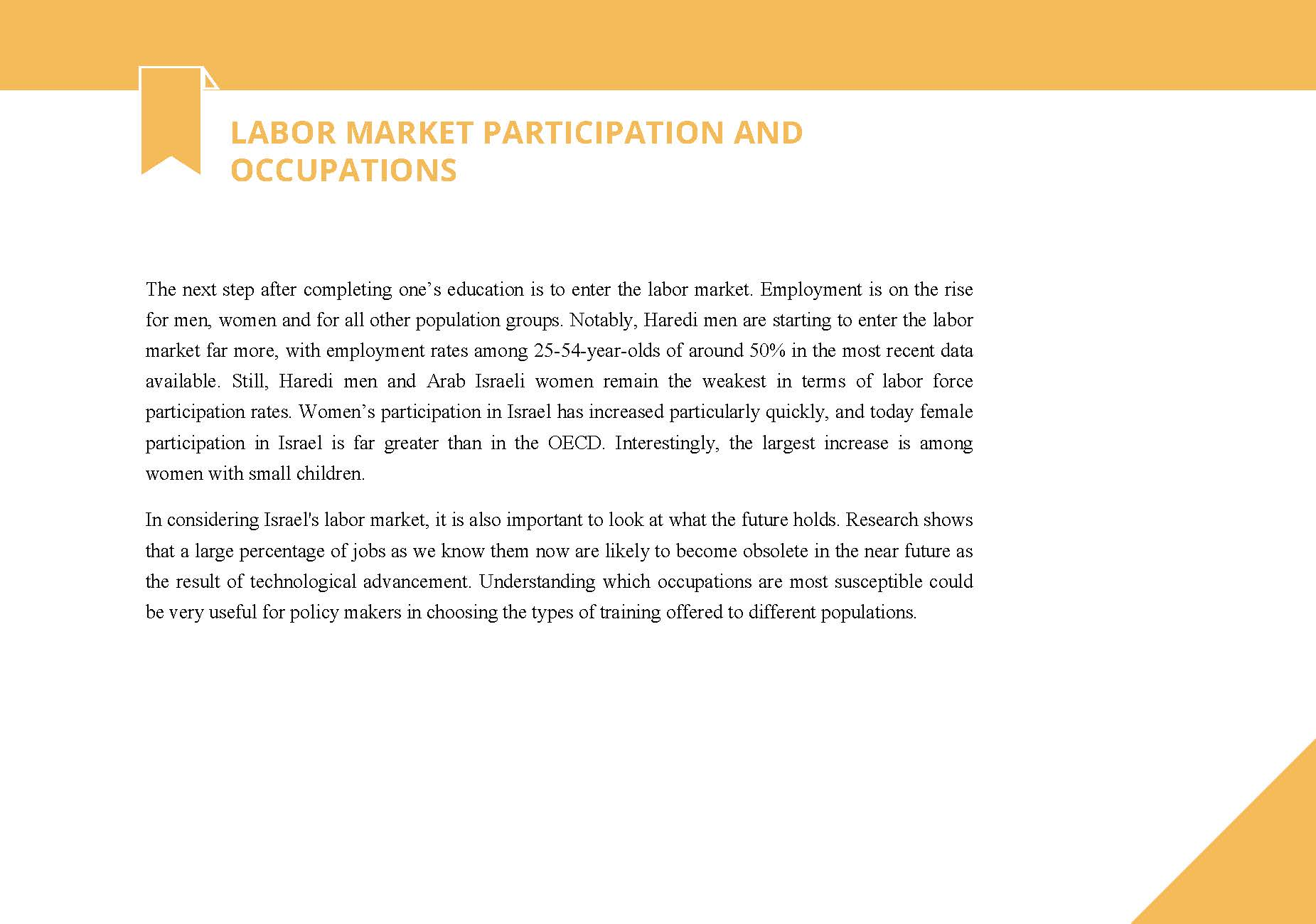 labor market participation and occupations in Israel Taub Center