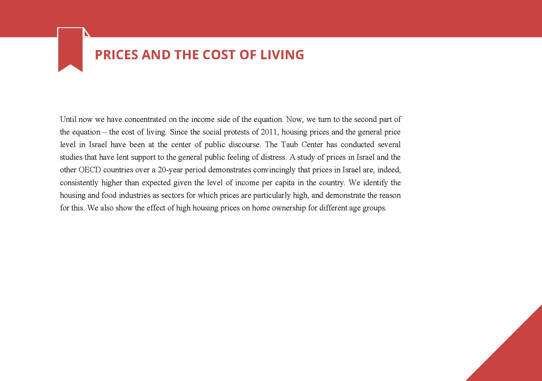 Prices and the cost of living in Israel Taub Center