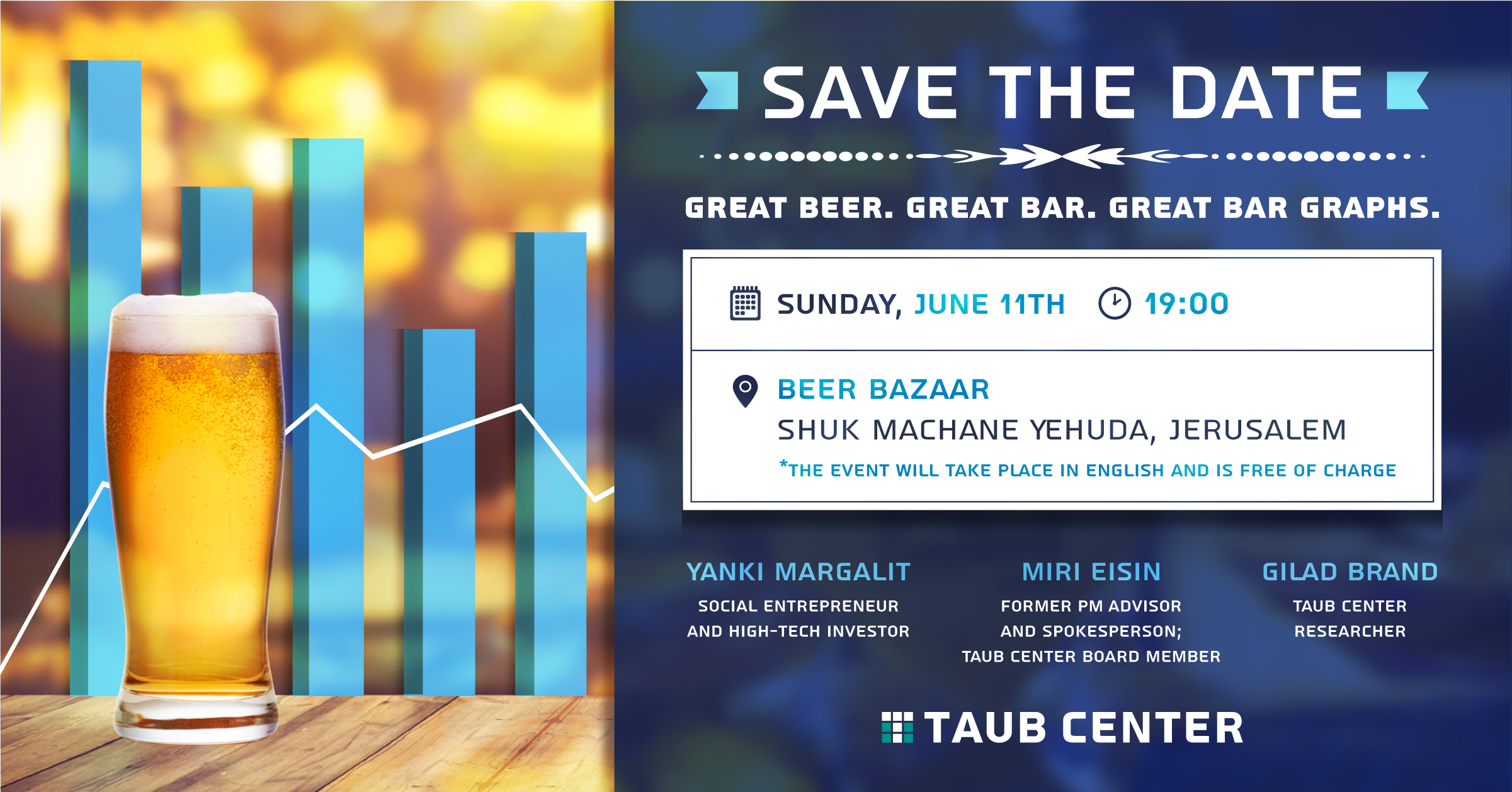 Save the Date - Taub Center Jerusalem Bar Event June 11