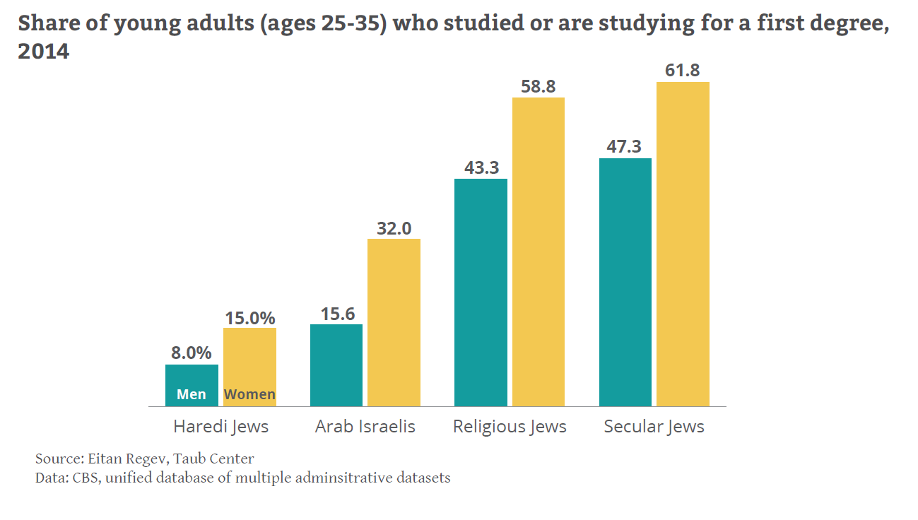 Share of young adults studied or studying for first degree