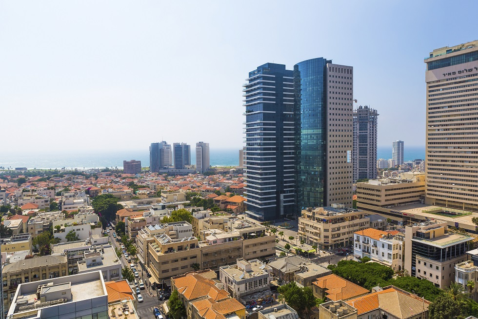 TEL AVIV/ISRAEL - 5 AUGUST 2014: city Tel Aviv streets and buildings from a height. 5 august 2014 Tel Aviv.