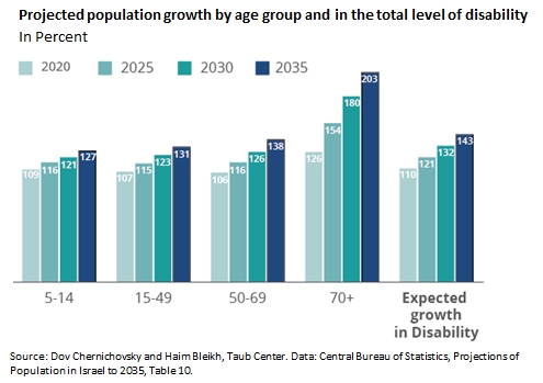 Projected population growth by age group and in the total level of disability