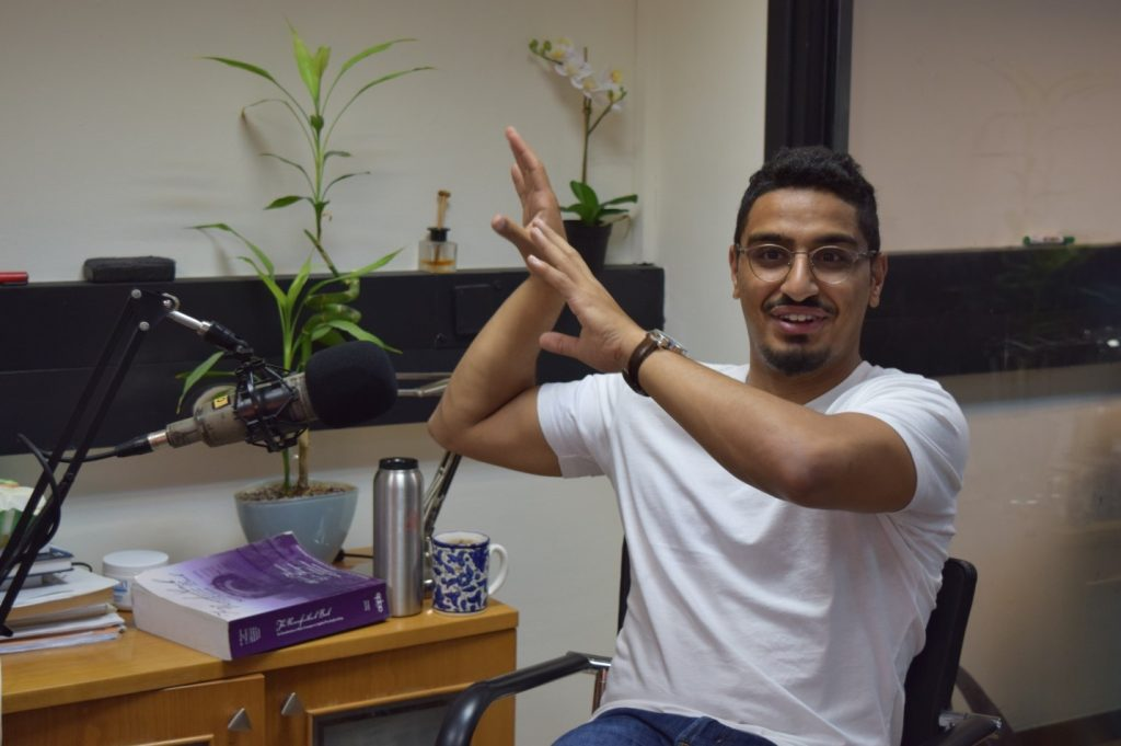 Aziz Kaddan in the Myndlift office