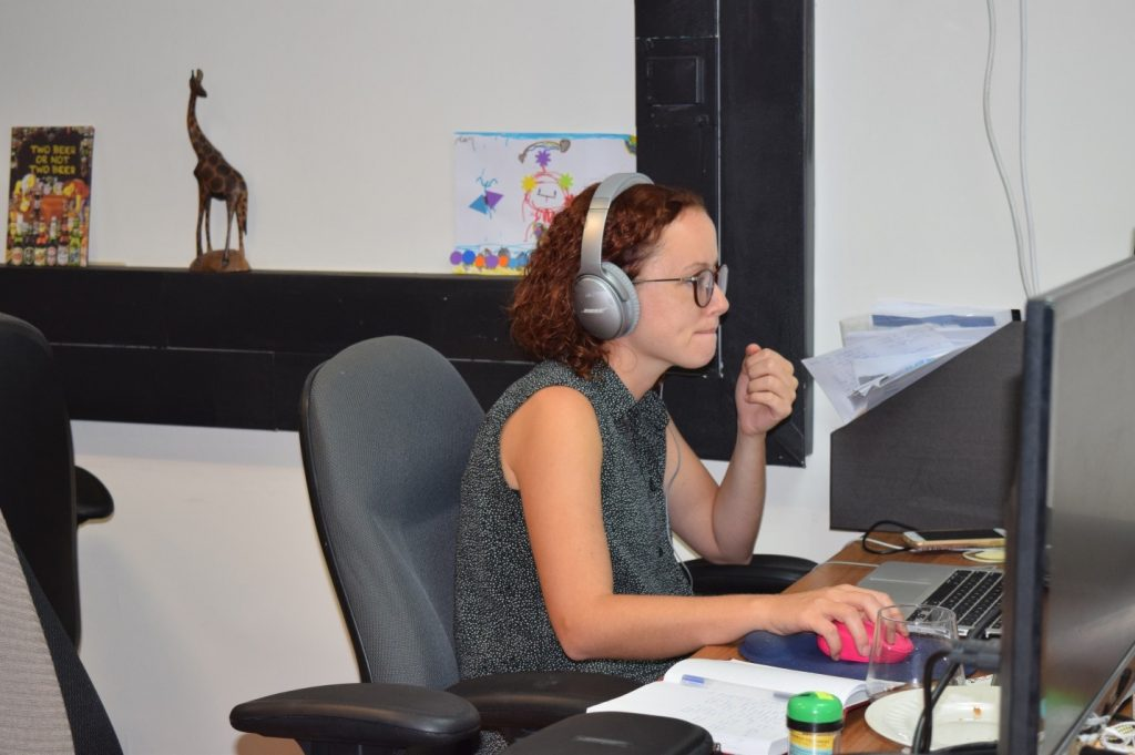 naomi Kaminsky at her desk in the Myndlift office